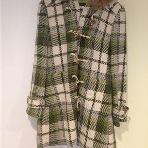 J Crew Fur Hooded Toggle Plaid Tweed Coat M